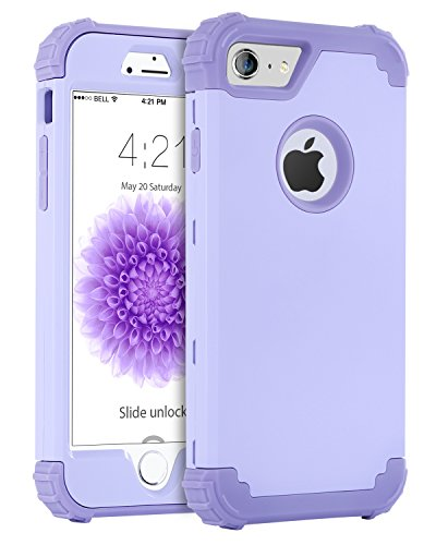 BENTOBEN iPhone 6 Funda, iPhone 6s Funda, 3 en 1 Carcasa Combinada PC Dura y Silicona TPU Suave Fuerte Resistente PC Bumper Antigolpes Cubierta Protectora Fundas para iPhone 6/6s (4.7)- Púrpura