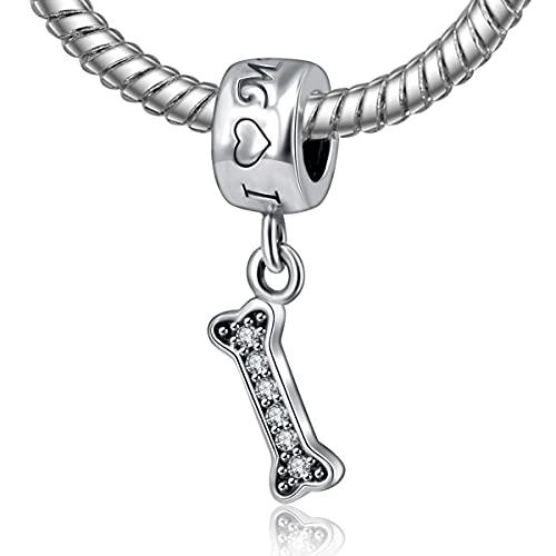 LILANG Pandora 925 Pulsera de joyería dePlata esterlinaNaturalAmo a mi Mascota de Hueso...