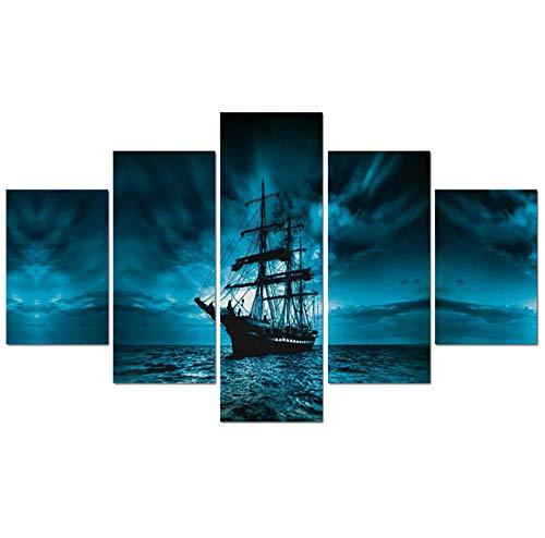 MKmd-s Pintura Impresa en Lienzo HD Personalizada, Arte de Pared de 5 Piezas, Barco Pirata Azul océano