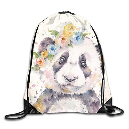 Lot de sacs à dos de sport avec cordon de serrage Petit panda (art de couleur de l'eau) décontractés pour femmes, hommes, sac d'école, sac à dos Taille unique LittlePanda.