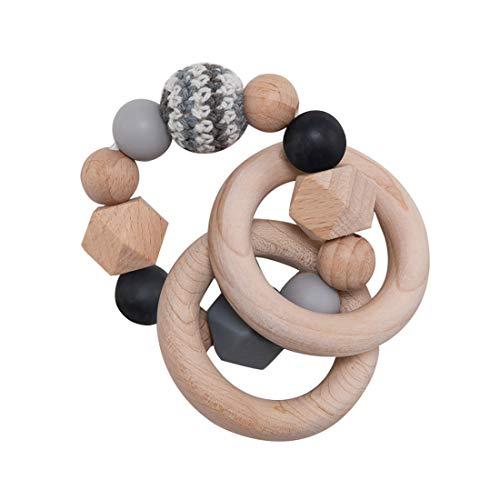 Wooden Teether Baby Teether Nursing Bracelet Silicone Teething Beads Wooden Teething Ring Infant Baby Bracelet Teething Toys Wood Color