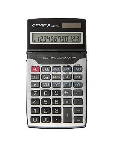 Genie 84 CSM 12-cijferige zakelijke rekenmachine, Dual Power (zonne-energie en batterij), incl. beschermdeksel, zwart/zilver