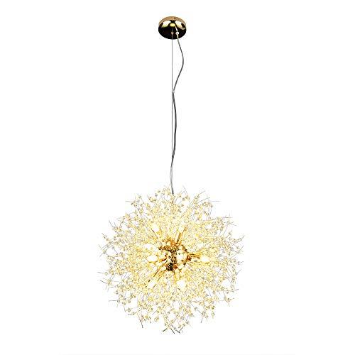 Lingkai Moderne LED Lampe Kristall Deckenleuchte Elegante Runde Kronleuchter Runde Pendelleuchte für Schlafzimmer Wohnzimmer Restaurant Esszimmer Unterputz Hängeleuchte Φ 55cm (Gold)