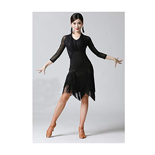 LLSL Vestido de Baile Latino, Mujeres Sexy Media Manga Larga impresión Transporte de Baile Latino Tassel Ropa, salón de Baile Tango Modern Rumba, Rendimiento Dancewear,M