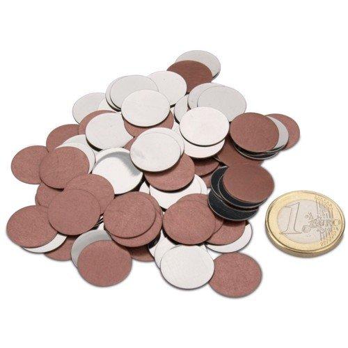 magnets4you Metallscheiben/Metallplättchen 100 Stück | Ø 16 mm | selbstklebend | Haftgrund für Magnete