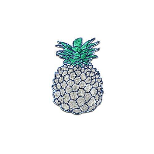 XXL Ananas Obst Frucht Pailletten - Aufnäher, Bügelbild, Aufbügler, Applikationen, Patches, Flicken, zum aufbügeln, Größe: 22,5 x 16,5 cm