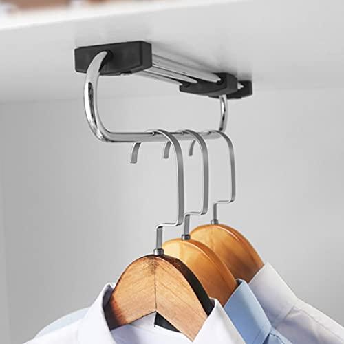 FKDEKUZI Sliding Clothes Hanger Rail for Closet,Pull-out Clothes Rail 3 Base 28-53cm Metal Wardrobe Coat Hanger (Size : 530mm)
