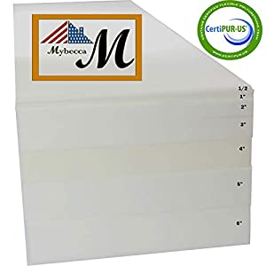 "Mybecca Upholstery Foam Cushion Sheet High Density, 3"" H x 24"" W x 72"" L"