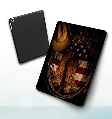 Funda para iPad 9,7 Pulgadas, 2018/2017 Modelo, 6ª / 5ª generación,Botas Vaqueras Occidentales en la Bandera de Estados Unidos, Smart Leather Stand Cover with Auto Wake/Sleep