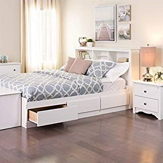 Prepac Monterey White Queen Bookcase Platform Storage Bed