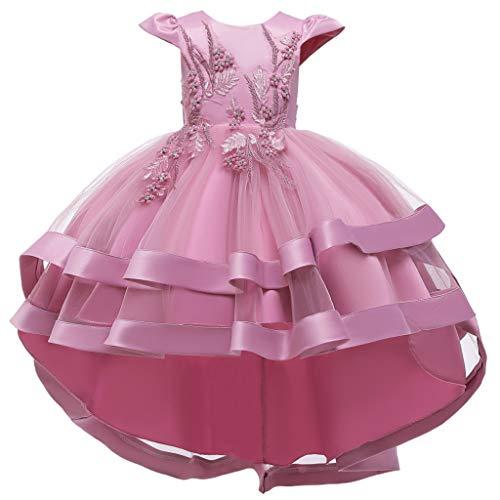 SKays Blumenmädchen Prinzessin Taufkleid Blumen Tüll Hochzeit Kleid Ärmellos Prinzessin Blumenmädchen Hochzeitskleid Cocktailkleid (Pink,120)