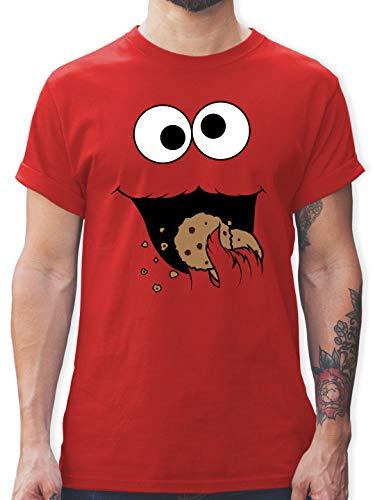 Karneval & Fasching - Keks-Monster - M - Rot - witzige Herren t Shirts - L190 - Tshirt Herren und Männer T-Shirts