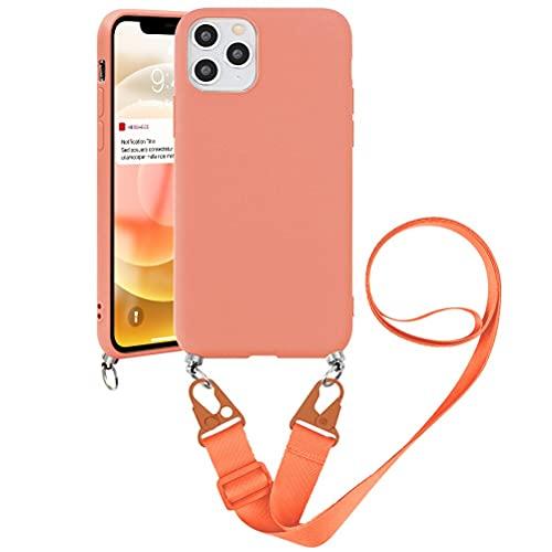 Pnakqil Funda con Cuerda para Samsung Galaxy A9 (2018) 6,3' - Suave Silicona Teléfono Móvil Carcasa con Ajustable Collar Correa para Hombro y Cordón para el Cuello Cadena, Naranja