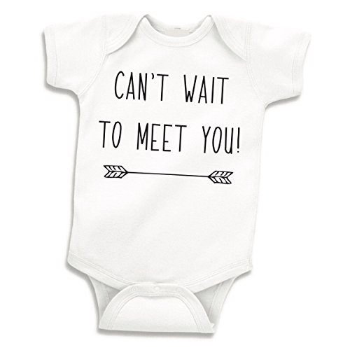 Bump and Beyond Designs Can't Wait to Meet You, Pregnancy Announcement to Grandparents (White, 0-3 Months)