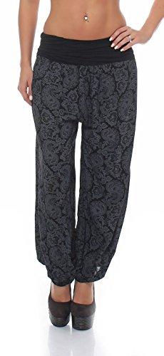 Malito Damen Pumphose im Orient Design | Haremshose zum Tanzen | Coole Pluderhose zum Chillen - Freizeithose 8580 (schwarz, 34-40)