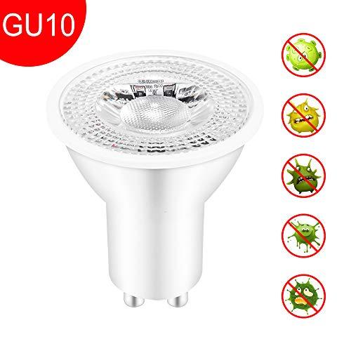 Desinfektionslicht, SUNJULY 5W keimtötende Lampe IP54 wasserdicht UVC warmes Licht mit Fernbedienung Drei-Zeit-Einstellmodus Beleuchtungsfunktion für Büro, Bad, WC, Schlafzimmer(GU10)