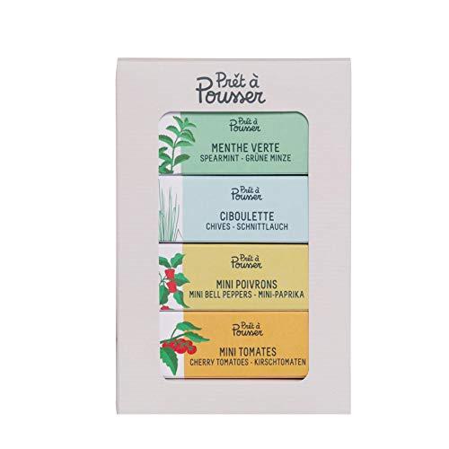 Prêt à Pousser coffret Apéro - Mini Tomates, Mini Poivrons, Ciboulette, Menthe Verte - 4 Capsules Pour Votre Potager Lilo ou Modulo
