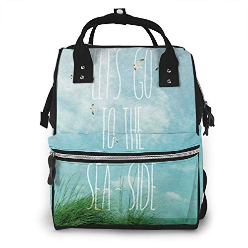 Lets Go To The Seaside Tt Multi-Function Travel Backpack Nappy Bag,Fashion Mummy Bag