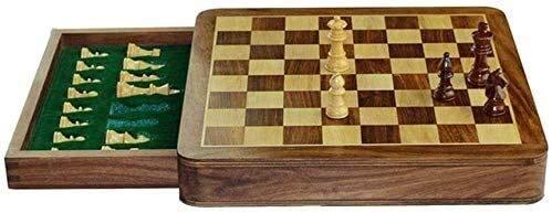 Juegos de ajedrez juego de mesa de ajedrez para adultos para niños |Ajedrez de madera maciza con tiendas de ajedrez de ajedrez, cajón antideslizante, juego de ajedrez de viaje magnético juegos tradici
