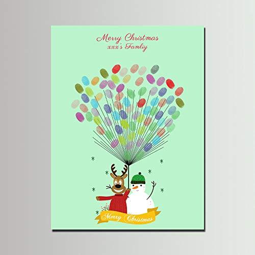 IKAEASD Frohe Weihnachten Fingerabdruck Baum Malerei, Benutzerdefinierten Namen DIY Souvenirs Gästebuch, Hirsch Schneemann Leinwand Malerei für Familienfeier