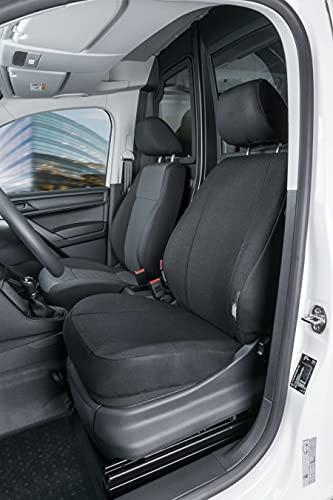 Walser 10517 Autoschonbezug Transporter Passform, Stoff Sitzbezug anthrazit kompatibel mit VW Caddy, Einzelsitz vorne