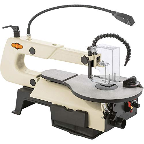 "Shop Fox W1872 16"" VS Scroll Saw with Foot Switch, LED, Miter Gauge, Rotary Shaft"