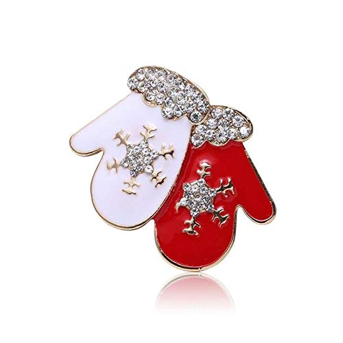 Brooch Creative Christmas Gift Brooch Santa Christmas Tree Socks Snowman Gloves Garland Rhinestone Brooch Pin Gift-Style 19