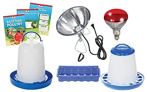Double-Tuf Chicken and Poultry Starter Kit with Heat Lamp, Light Bulb, Feeders, Waterer, and Guide Book for Backyard Outdoor Chick Farmers (Item No. DTBPKIT)
