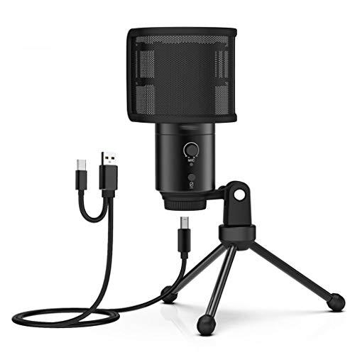 WYJBD Micrófono USB Estudio Micrófono con Condensador Profesional para PC Ordenador de grabación Streaming Karaoke Canting Mic Stand