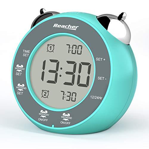 REACHER - Reloj despertador con batería y doble alarma para día de semana y fin de semana con repetición, luz de fondo, con doble campana, reloj despertador digital para dormitorio (verde menta)
