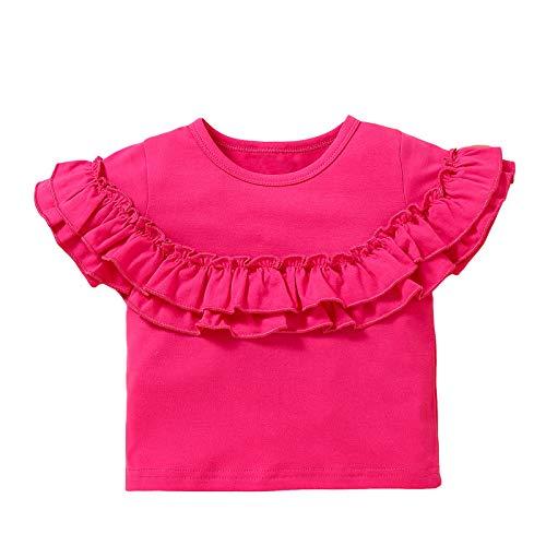 Soapow Baby Mädchen Shirt Kleinkind Solid Rundhals Weich Kurzarm Rüschen T-Shirt Top