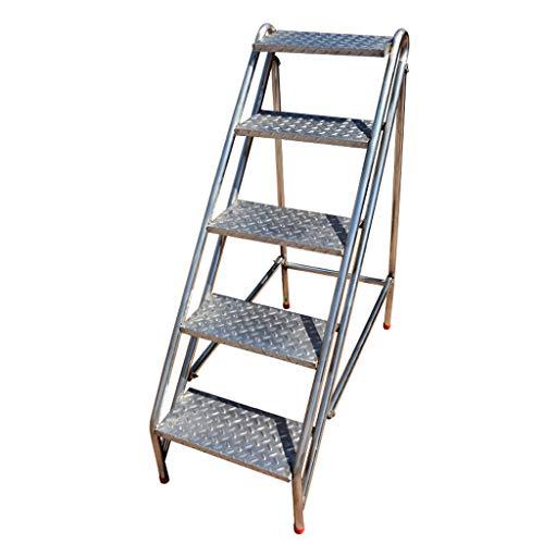 LHNLY-Trittleiter Tritthocker Leiterhocker Leiterstuhl Edelstahl-Treppenhocker Klappbare Treppenstühle 5-Stufen-Hocker für hohe Beanspruchung, Kletterhöhe 45,3 ″, max. 440 lbs