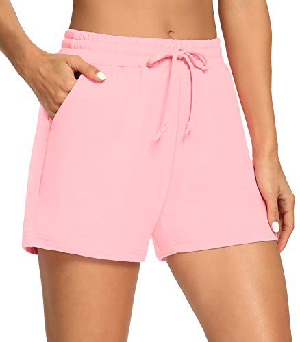 THANTH Womens 3.5' Yoga Shorts Elastic Waist Casual Cotton Lounge Pajamas Workout Walking Jersey Sweat Shorts with Pockets Pink S