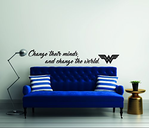 e-Graphic Design Inc Change Their Minds and Change The World Quote Wonder Woman Mural Wall Decal for Home Bedroom Living Room (Wide 40' x 7' Height)