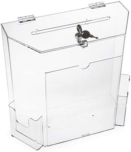 Charity Donation Acrylic Ballot Box w Display Frame Lock 2 Pockets Wall mounting or Tabletop product image