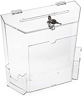 Charity Donation Acrylic Ballot Box w/Display Frame, Lock & 2 Pockets, Wall mounting or Tabletop (Clear, Large)