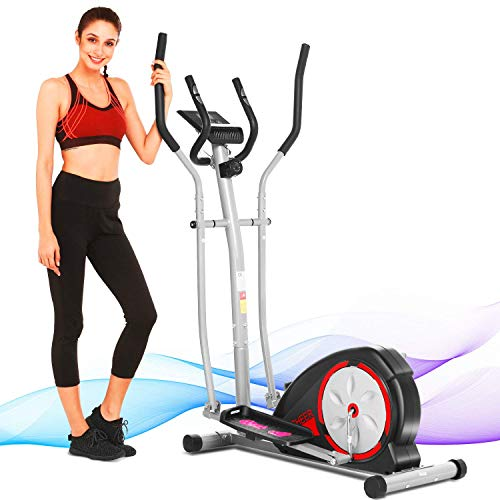 ANCHEER Elliptical Machine, Quiet & Smooth Magnetic Elliptical Cross Trainer Machine with LCD Monitor and Pulse Rate Grips, Best Elliptical Exercise Machine Trainer for Home Gym Workout (Black)