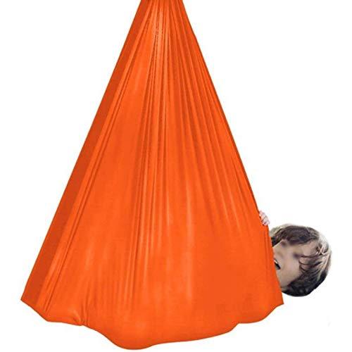 WCX Weiche Hängematte für den Innenbereich, für Kinder mit besonderen Bedürfnissen, Kuschelhängematte, sensorische Integration, maximale Tragkraft 200 kg (Farbe: Orange, Größe: 1,5 x 2,8 m)