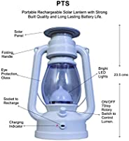 PTS - LED Solar Lantern Emergency Light - Rechargeable, Portable - Travel Camping Lantern - Made in India - Pakiza - White