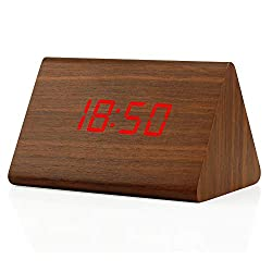 GEARONIC TM Modern Triangle Wood Wooden Alarm Digital Desk Clock Thermometer Classical Timer Calendar Updated 2018 Brighter LED-Brown