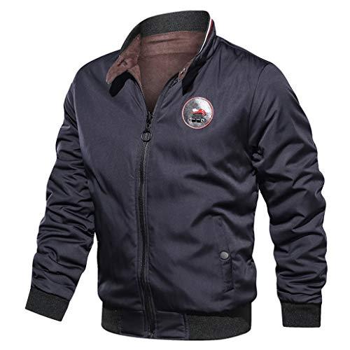 Bomberjacke Herren Herbst Winter Lässig Reine Farbe Beidseitig Tragen Atmungsaktive Jacke Sweatshirts Für Männer Mantel