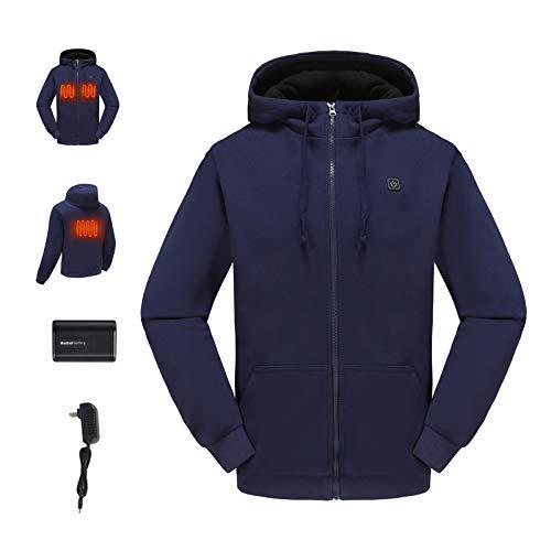 ADDHEAT Heated Hoodie with Battery for Men, Outdoor Recreation Heating Coat Full-Zip Warm Sport Sweatshirt Hooded, Winter Windproof Outwear Clothes Liner Portable Heat Elements, Blue, M