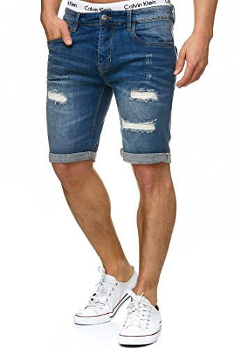Indicode Herren Caden Jeans Shorts mit 5 Taschen aus 98% Baumwolle | Kurze Denim Stretch Hose Used Look Washed Destroyed Regular Fit Men Short Pants Freizeithose f. Männer Holes - Medium Indigo L