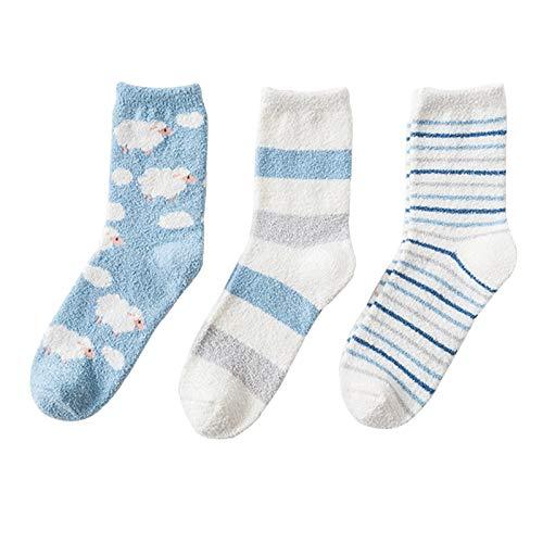 LUO Calcetines Calcetines de Piso de Tubo Medio de Las señoras, 3 Pares de Calcetines Interiores de Invierno, Calcetines de Toalla para Dormir en casa, Calcetines de Microfibra mullida