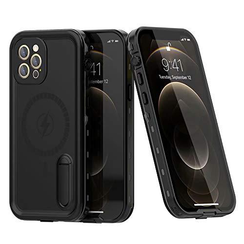 FHZXHY Funda impermeable para iPhone 12 Pro Max soporte para teléfono móvil, funda sellada, protector de pantalla, apto para iPhone 12 Pro Max 5G de 6,7 pulgadas, color negro