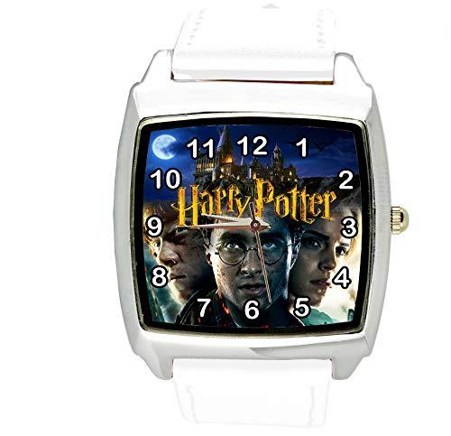TAPORT® Harry Potter Cuarzo Cuadrado Reloj Blanco Correa Cuero E2 + Batería de Repuesto + Bolsa de...