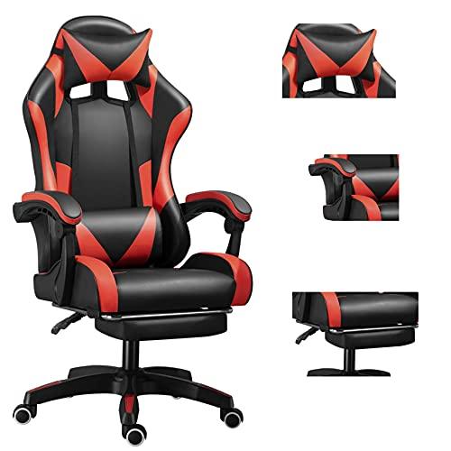Massagesessel Ergonomischer Spielstuhl Hochlehner Bürostuhl Computerstuhl Racing Style mit Kopfstütze und Lendenwirbelstütze PU/Stretchgewebe/Camouflage (Blackred-YH)