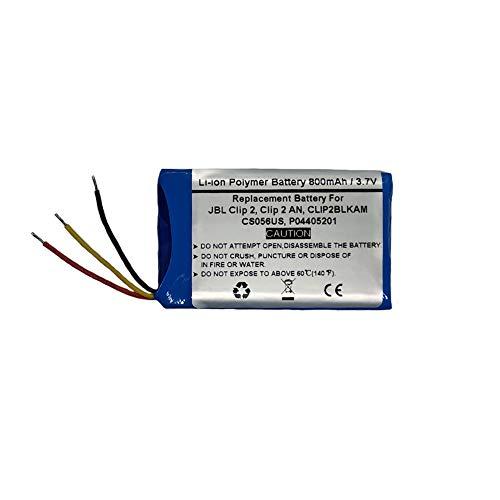 Batería de repuesto para JBL Clip 2, Clip 2, CLIP2BLKAM, CS056US, P04405201 (800 mAh, 3,7 V)
