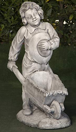 Figura de hormigón clásica Granjero con Carretilla 55x35x90cm. - Figura, Escultura Romana Estilo jardín Ingles. - Hecho en España.