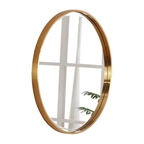 ZHAOJYZ Household Nood/Roestvrij stalen badkamerspiegel verzinkt messing geborsteld goud eenvoudige wastafel make-up spiegel gemonteerd op de ronde muur